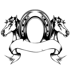 Heads horses and horse shoe vector