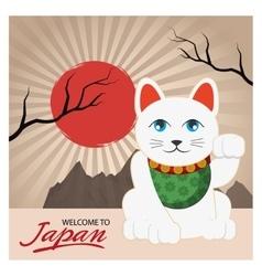 Lucky cat of japan design vector