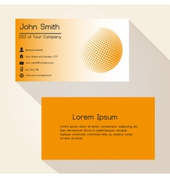 Orange abstract sphere from dots business card vector