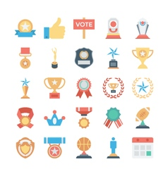 Vote and rewards colored icons 2 vector