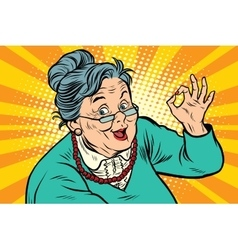 Grandma okay gesture the elderly vector image