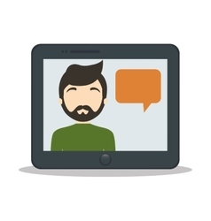 tablet man bubble speech chat vector image