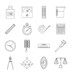 Measure precision icons set outline style vector image