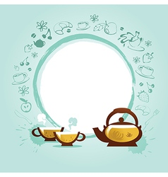 Background with cups and sweets cake vector
