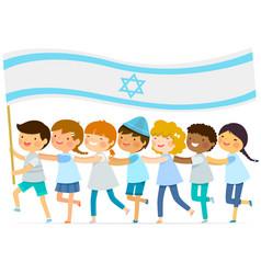 kids with big israeli flag vector image