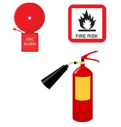 Fire extinguisher alarm bell and fire risk sign vector
