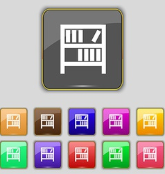Bookshelf icon sign set with eleven colored vector