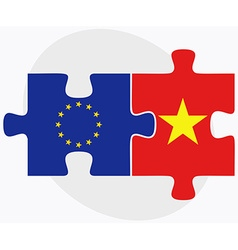 European Union and Vietnam Flags vector image