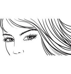 Beautiful girl eyes and light long hair vector