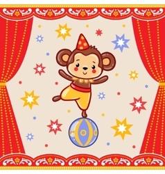 Circus happy birthday card design vector image