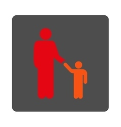 Father with son rounded square button vector