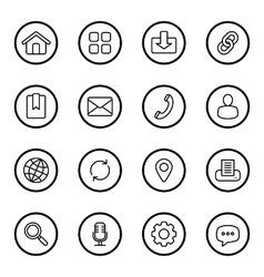 Black line web icon set circle vector