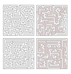 Two different mazes of medium complexity on white vector