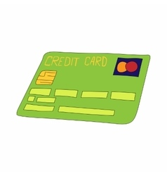 Green credit card icon cartoon style vector
