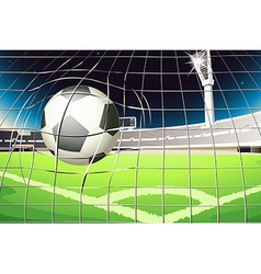 A net with a soccer ball vector image vector image