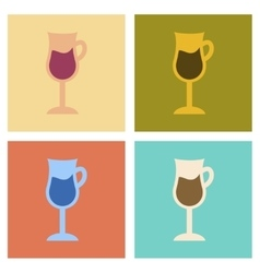 Assembly flat icons coffee glass cup vector