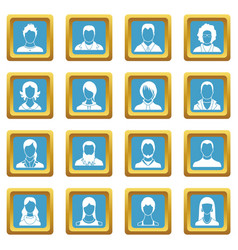 avatars set icons azure vector image
