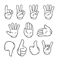 Black and white cartoon hands set vector