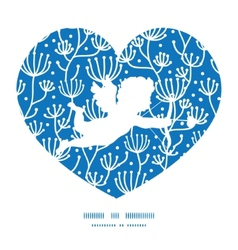 Blue white lineart plants shooting cupid vector
