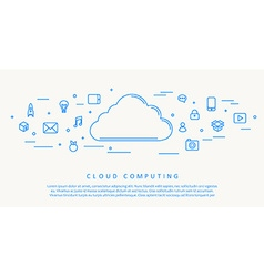 Cloud computing blue thin line design vector image