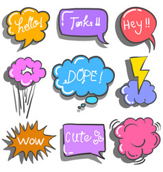 Doodle of text balloon set colorful vector