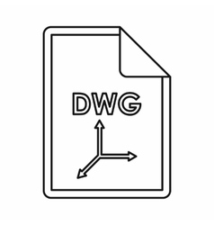 Dwg file extension icon outline style vector