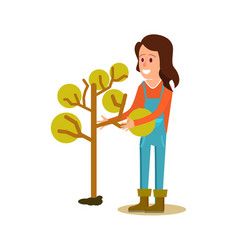 Female farmer planting tree icon vector