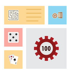 Flat icon games set of backgammon lottery vector