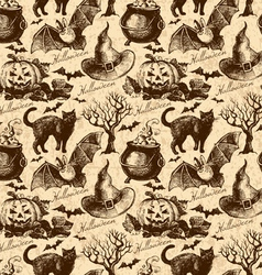 Hand drawn halloween seamless pattern vector