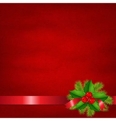 Holly Berry With Red Background vector image vector image