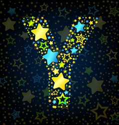 Letter Y cartoon star colored vector image