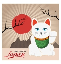 Lucky cat of japan design vector