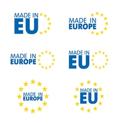 Made in european union labels vector
