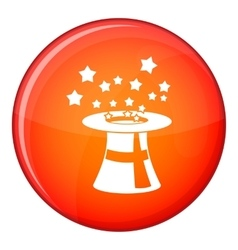 Magic hat with stars icon flat style vector