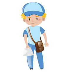 Mailman in blue uniform delivering letter vector