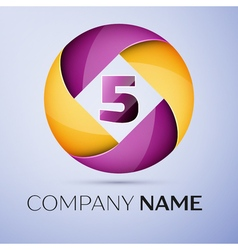 Number five logo symbol in the colorful circle vector image
