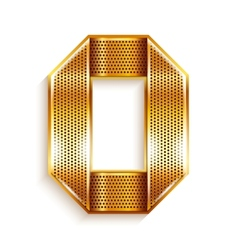 Number metal gold ribbon - 0 - zero vector image
