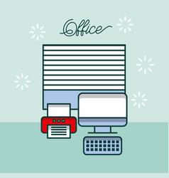Office computer device printer window work site vector