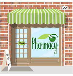 pharmacy facade of red bricks vector image vector image
