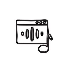 Radio sketch icon vector