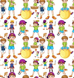 Seamless boys in different actions vector image vector image