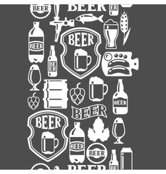 Seamless pattern with beer icons and objects vector