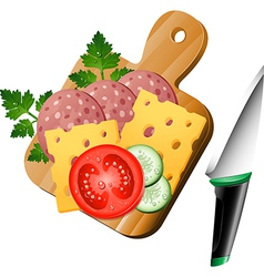 Serving board with ingredients on vector image
