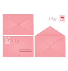 Set of pink envelopes vector