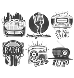 Set of radio and music labels in vintage vector