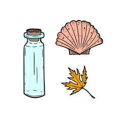 Stickers cartoon set with bottle seashell and vector