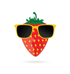 strawberry with sunglasses cartoon in colorful vector image vector image