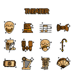 theater flat icons set vector image