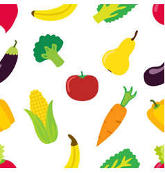 vegetable pattern in flat style bright healthy vector image vector image