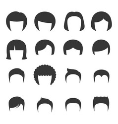 Woman and man hair set vector
